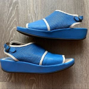 Fly London   Perforated Leather Wedge Sandal Blue